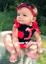 Polka Dot Print 1st Birthday Red cake Baby Black Top
