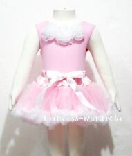 Baby Pink Top Pure White Rose with Pettiskirt Set 3-12M