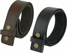 REAL COATED LEATHER PRESS STUD CLIP BELT BLACK OR DARK BROWN OWN BUCKLE NWT