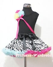 Rainbows Zebra Pettiskirt with Black Pettitop Top in Rosettes and Bow Set 1-8Y