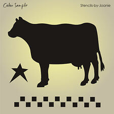 Country Milk Cow STENCIL Prim Barn Star Check Border Cottage French Sign U Paint