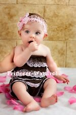 XMAS NewBorn Baby Brown Pink Ruffles Petti Lace Romper Size For NB-3Year
