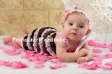 NewBorn Baby Brown Pink Ruffles Petti Lace Romper with Strap Size For NB-3Year