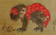Performing Monkey New Picture Reproduction Japanese Print Old Woodblock Circus