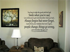 You have to take the good with the bad Vinyl Wall Art Words Decal Stickers Decor