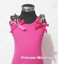 Hot Pink Pettitop Tank Top with Bow Hot Pink Leopard Ruffle For Pettiskirt NB-8Y