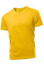 Hanes Mens Plain SUNFLOWER YELLOW Organic Cotton Vee V-Neck Tee T-Shirt S-XXXL