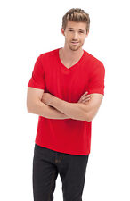 Hanes Mens Plain RED Organic Cotton Vee V-Neck Tee T-Shirt S-XXXL