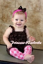 NewBorn Baby Brown Ruffles ONE PIECE Petti Lace Romper with Strap Size NB-3Year