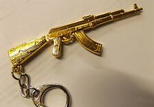 GOLD SOLID METAL REVOLVER PISTOL HAND GUN SNIPER KEYRING KEY CHAIN FREE UK POST