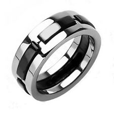 Onyx Black Color Silver Finish Dexter Solid Titanium Wedding Band Ring R134