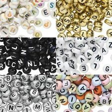 200 Plastic Acrylic 7mm Round Coin Disc Alphabet Letter Beads w/ Horizontal Hole