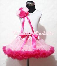 Light Hot Pink Pettiskirt Skirt with Bunch Rosettes White Pettitop Top 1-8Year
