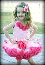Light Hot Pink Pettiskirt Skirt Pink Pettitop Top Hot Pink Rosettes Set 1-8Year