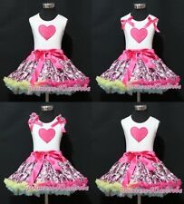 White Pettitop Top Hot Pink Heart Print Hot Pink Floral Print Pettiskirt 1-8Y