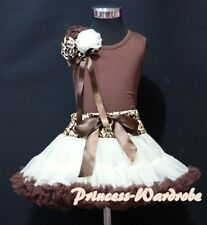 Cream Brown Leopard Pettiskirt Skirt with Brown Pettitop Top Rose Bow Girl 1-8Y