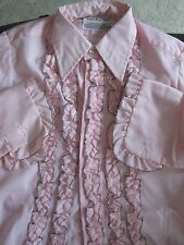 BOYS GIRLS PINK TUXEDO SHIRT / RUFFLES WITH TRIM  / US MADE / 70'S VINTAGE