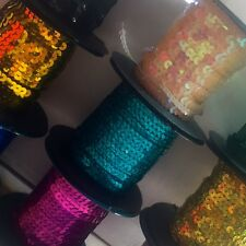 6MM FLAT STRUNG SEQUINS X 5 METRES- CHOOSE YOUR COLOUR. AMAZING VARIETY