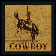 Rodeo Cowboy Peter Horjus Western Sign Framed Art Print Wall Décor Picture