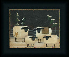 Sheep Flock Primitive Folk Art Country Framed Art Print Wall Décor Picture 8x10