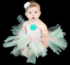 Baby HANDMADE Aqua White Knotted Tulle Tutu White Crochet Tube Top SET NB-24M