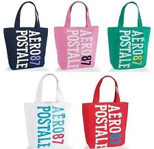 NEW Aeropostale Aero 87 Puffed Graphic Canvas Tote Bag Navy Pink Green White Red