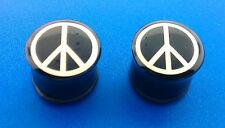 White Peace Sign Logo With Black Single Flared Ear Plugs. ( 2 Gauge to 1 inch )