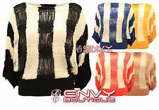 New Womens Ladies Knitted Striped 3/4 Sleeve Batwing Jumper Dress Top One Size