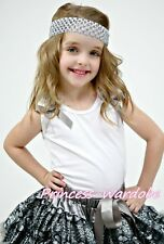 White Pettitop Top with Various Ruffles Grey Bows For Girl Pettiskirt NB-8Year