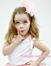 White Pettitop Top with Various Ruffle Light Pink Floral Bows 4 Pettiskirt NB-8Y