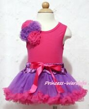 Newborn Baby Purple Hot Pink Pettiskirt a Bunch of Rose Hot Pink Top Set 3-12M