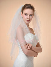 2T 32'' White/Ivory Scallop Pencil Edge Elbow Length Bridal Wedding Veil w/Comb