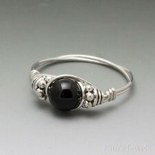 Black Onyx Bali Sterling Silver Wire Wrapped Bead Ring ANY size