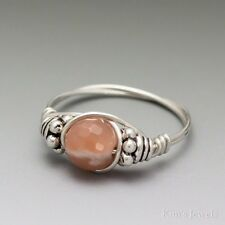 Sunstone Faceted Bali Sterling Silver Wire Wrapped Bead Ring ANY size