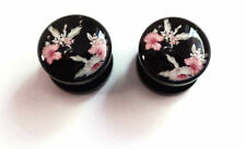 Cherry Blossom Flowers, LA, Dead Sugar Skull Acrylic Plugs in Different Gauges
