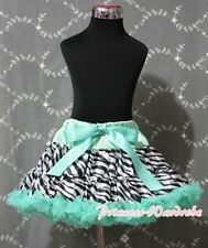 Aqua Blue Zebra Print FULL Pettiskirt Skirt Party Dance Tutu Dress Girl 1-8Year