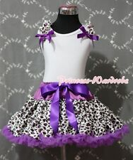 Purple Leopard Pettiskirt with White Pettitop Optional Ruffles & Bow Set 1-8Y