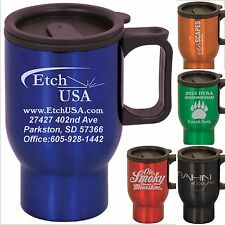 Set of 10 Custom Business Promotional Coffee Travel Mugs With Your Logo/Design