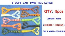5 X 10cm TWIN TAIL LURES FOR SEA FISHING BOAT ROD JIG HEADS PIRKS COD RIGS SHADS