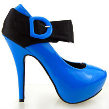 Womens Sexy Blue Patent Black Satin Strappy Hidden Platform High Heel Pump Shoes