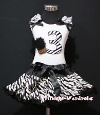 Black Zebra FULL POSH Pettiskirt White Top Zebra Birthday Number 3RD wif Cake 3T