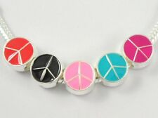 20pcs Silver Tone Enamel Peace Charm Beads Fit Bracelet Choose Colours E11