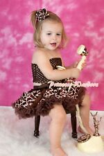Baby Brown Giraffe Pettiskirt Tutu Dress Crochet Tube Top wif Rose 3PC Set 3-12M