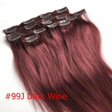 100g 120g Clip in 100% Real Human Hair Extensions #99J Red Wine Burgund New