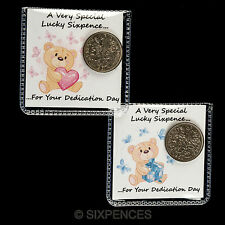 DEDICATION DAY LUCKY SIXPENCE COIN GIFT TOKEN BOY OR GIRL AVAILABLE FREE POSTAGE