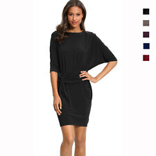 Batwing Sleeves Crewneck Jersey Party Day Night Cocktail Evening Dress co4036