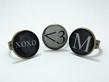 *~* VINTAGE TYPEWRITER STYLE INITIAL RING *~* ADJUSTABLE *~* QUIRKY STEAMPUNK *~