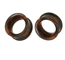 PAIR (2) Organic Brown Sono Wood EAR PLUGS Hollow Double Flared PIERCING GAUGES