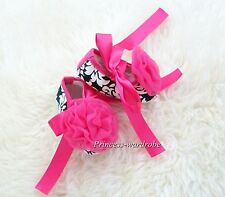 Infant Baby Toddler Girl Hot Pink Damask Print Shoe Ribbon Hot Pink Rose 0-18M