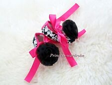 Infant Baby Toddler Girl Hot Pink Damask Print Shoe Ribbon with Black Rose 0-18M